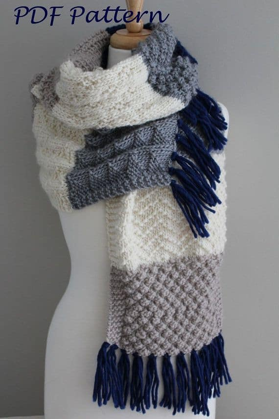 Super sized sampler scarf 15 Super Warm Fall Knitting Patterns