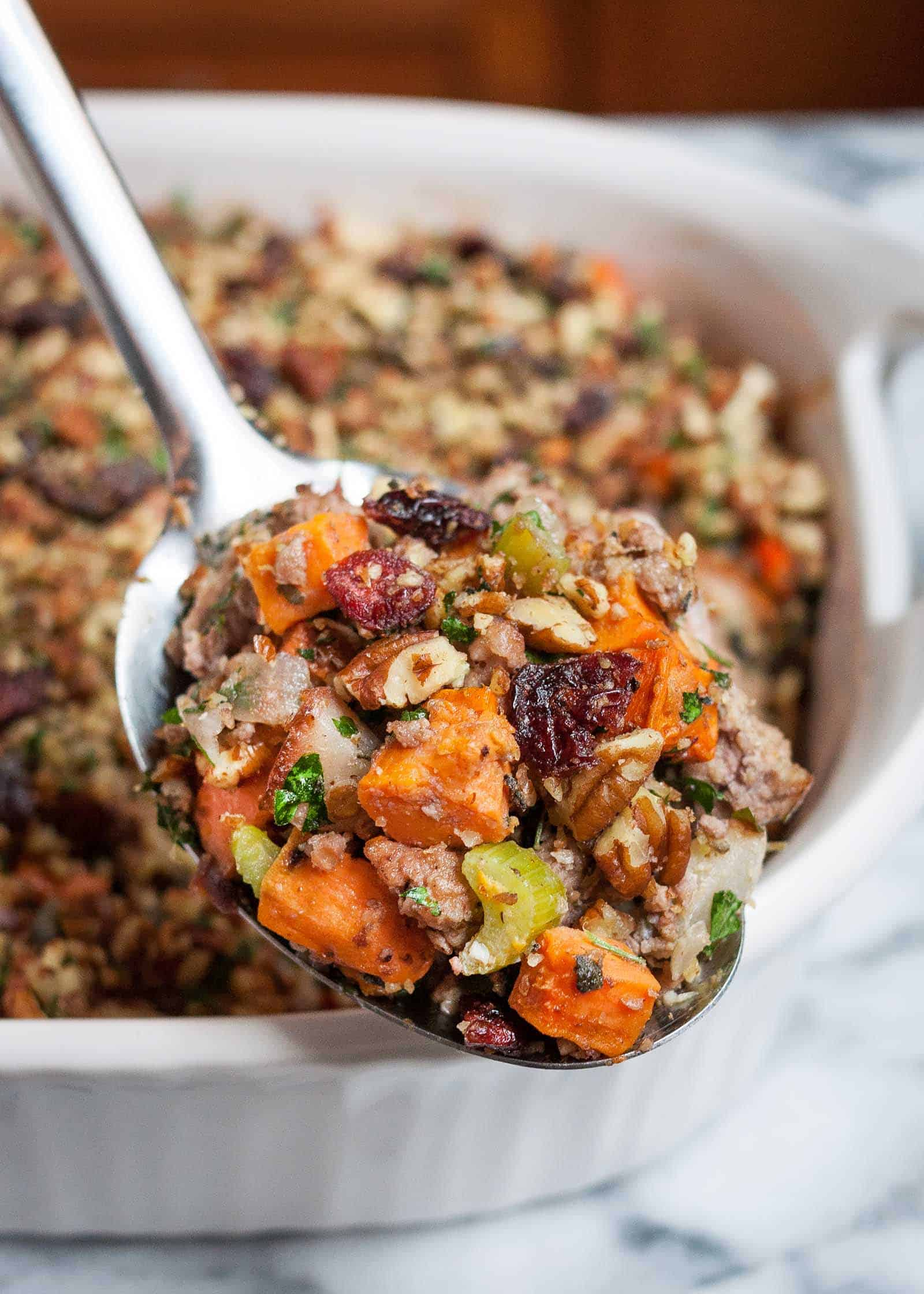 Sweet potato and pork stuffing