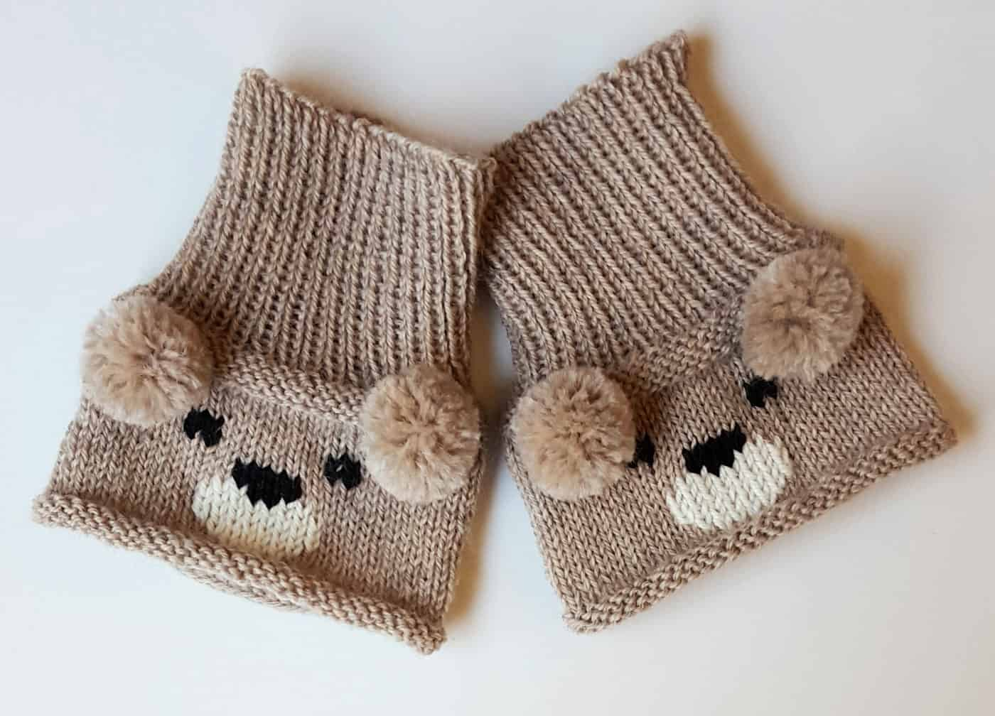 Teddy bear boot toppers with pom pom ears