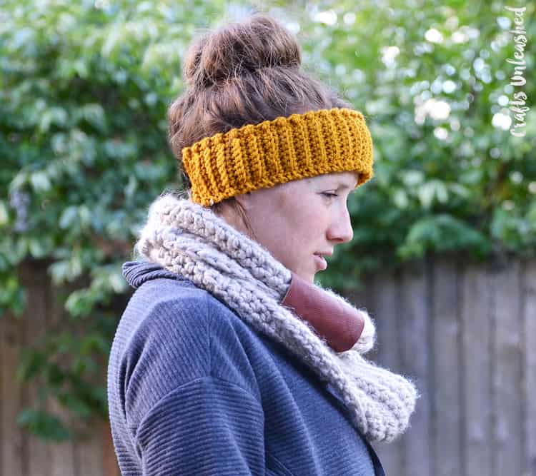 Textured crochet ear warmer