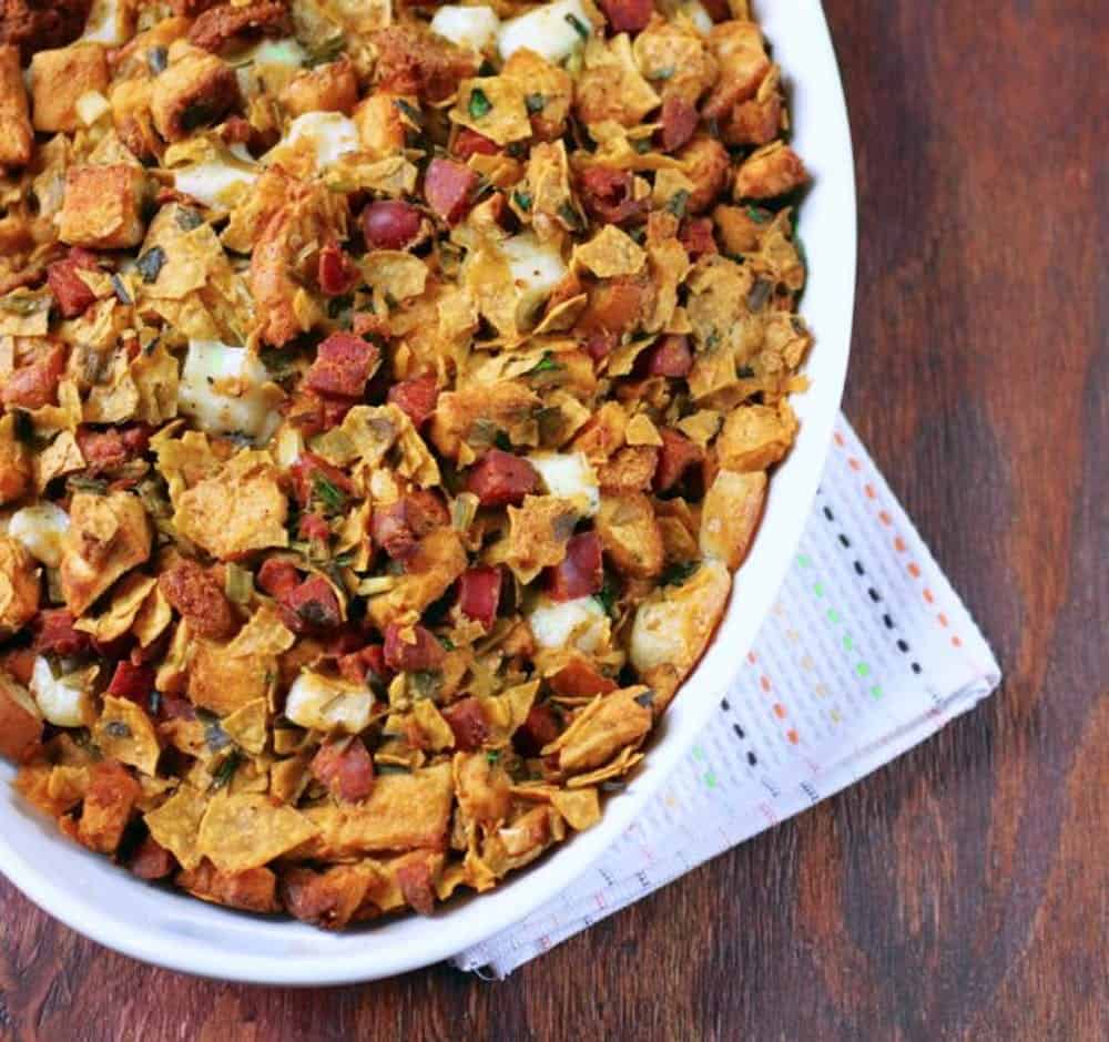 Tortilla chip chorizo stuffing
