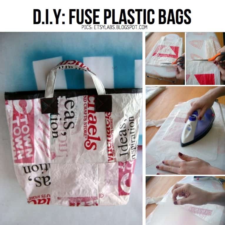 Tote bag made from heat fused plastic bags