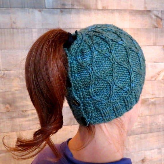 Trellis ponytail hat