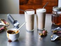 Twix bar bourbon milkshake 200x150 Cool Desserts to Make With Leftover Halloween Candy