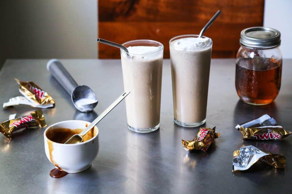 Twix bar bourbon milkshake
