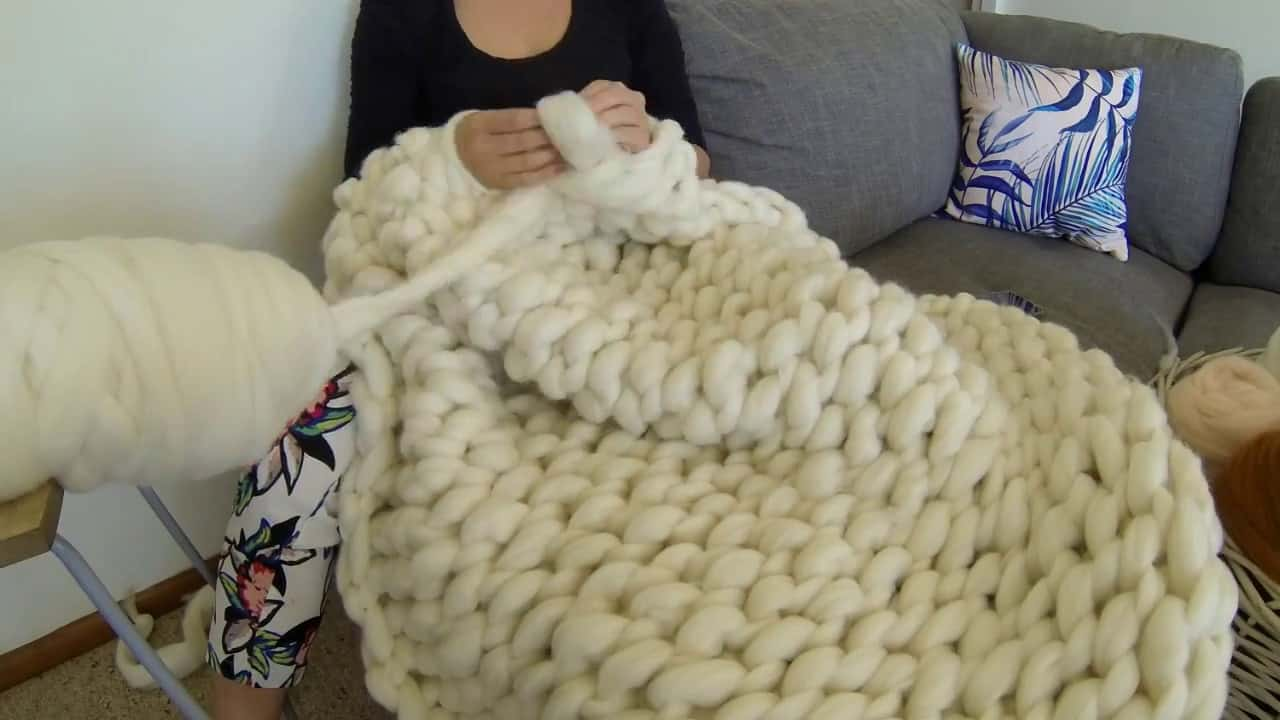 arm knitted super chunky throw blanket