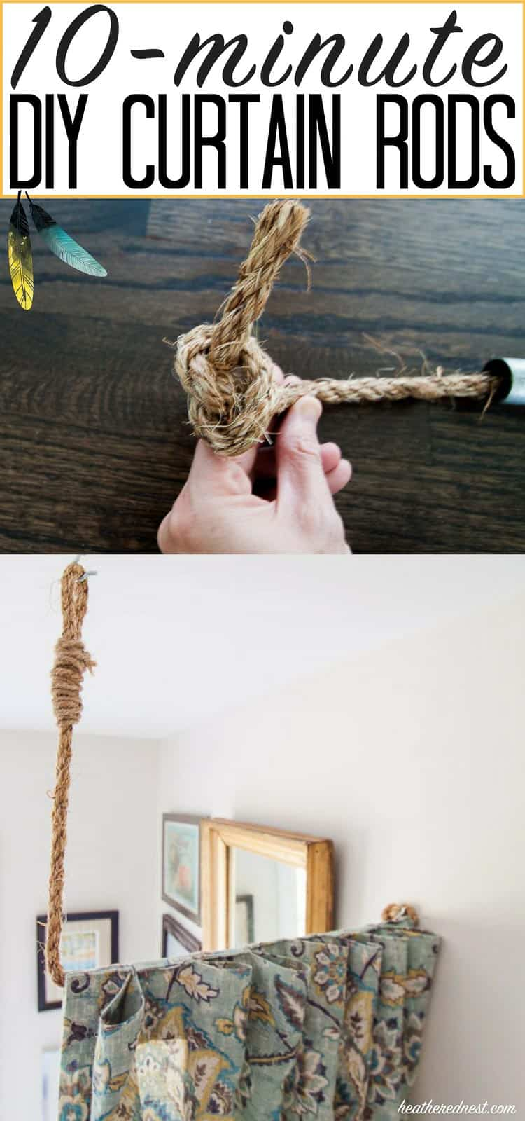 10-minute rope curtain rod