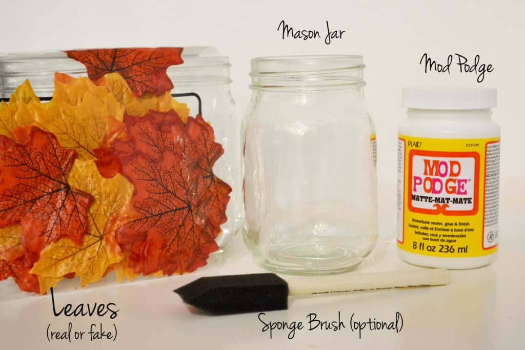 Autumn leaf mason jar candle holder 15 Leaf Decoupage Projects for Nature Lovers
