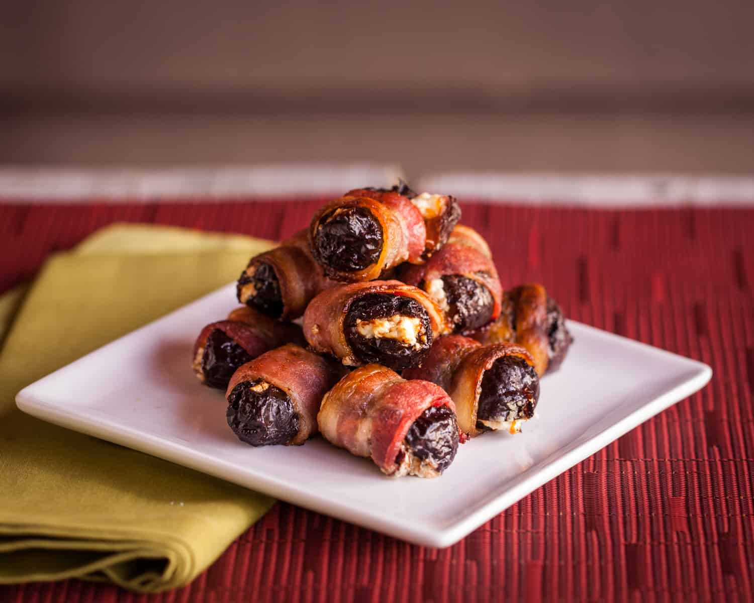 Bacon wrapped dried plums