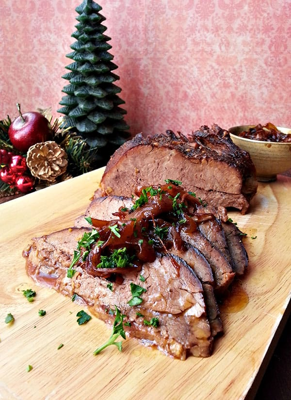 Beer-braised brisket with onion jam