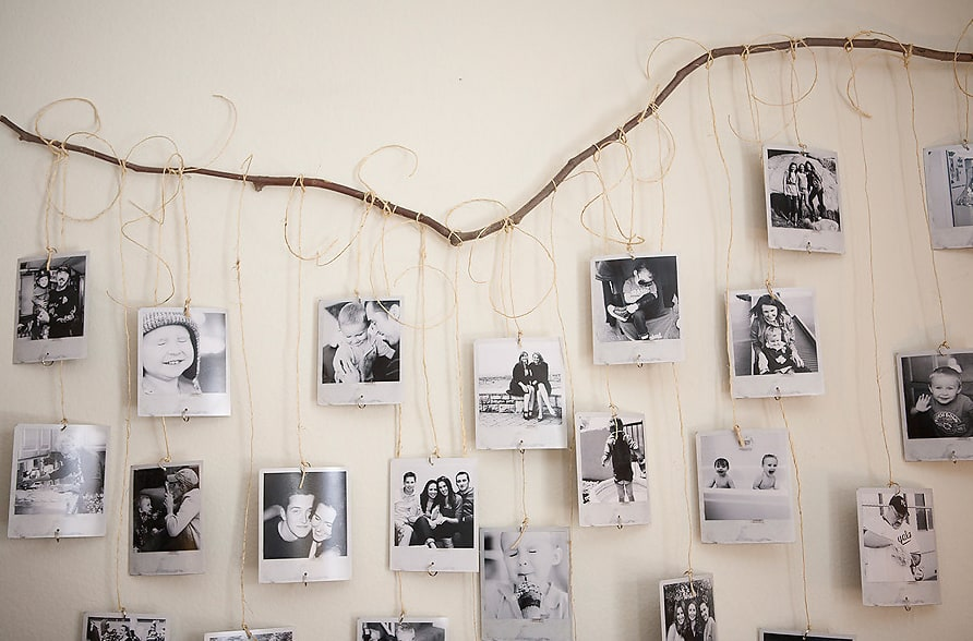 Branch and string photo frame