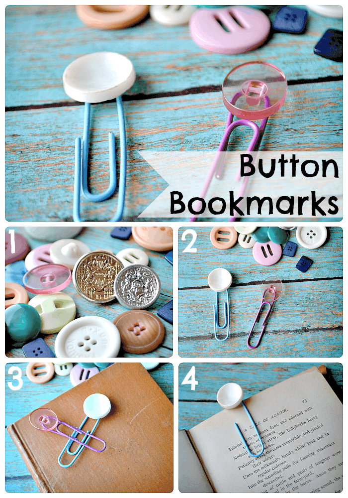 Button and paperclip bookmarks