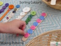 Button and popsicle stick colour sorting craft 200x150 Fun, Bright and Innovative: Fabulous Button Arts and Crafts