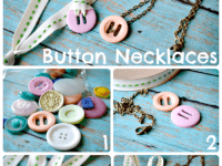Button and ribbon or chain necklaces 200x150 Fun, Bright and Innovative: Fabulous Button Arts and Crafts