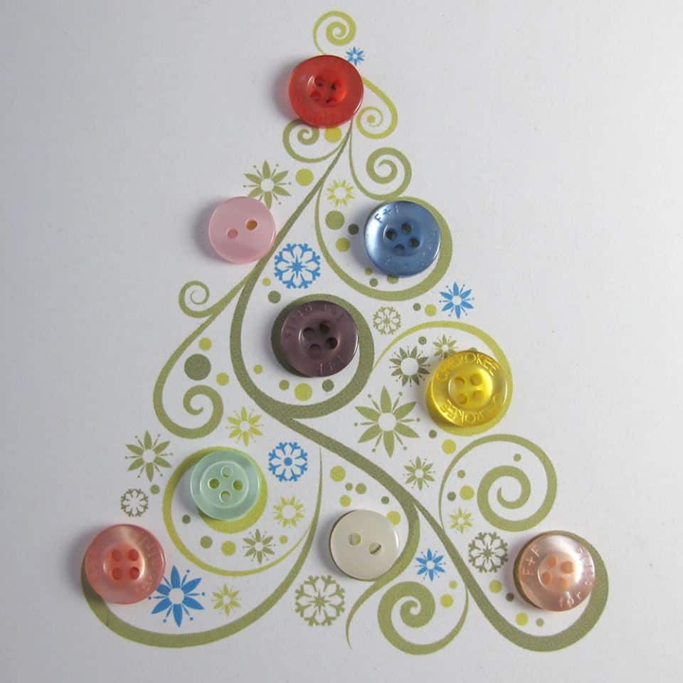 Button embellished Christmas cards