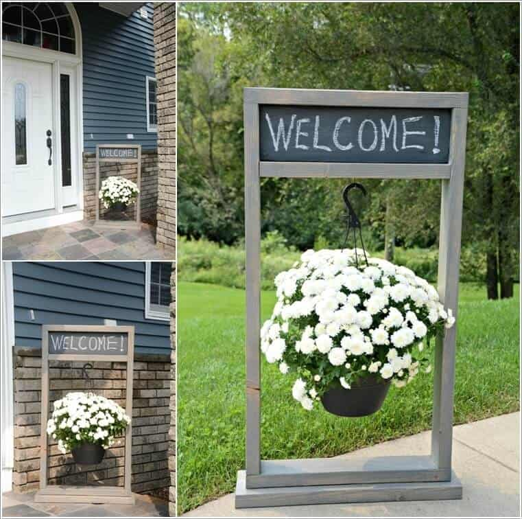 Chalkboard and hanging planter sign