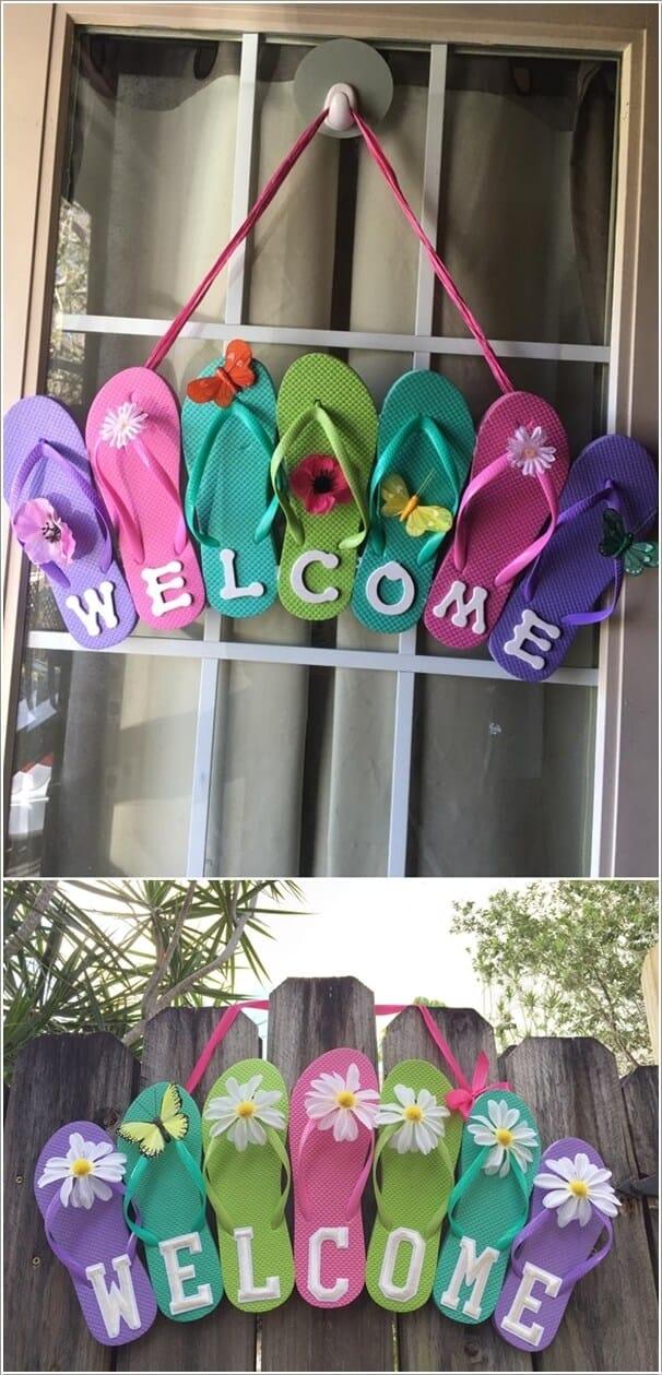 Cheerful flip flop sign