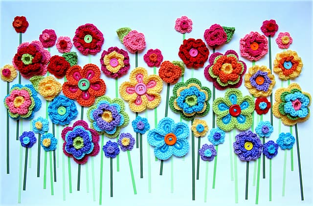 Crochet and button flower art
