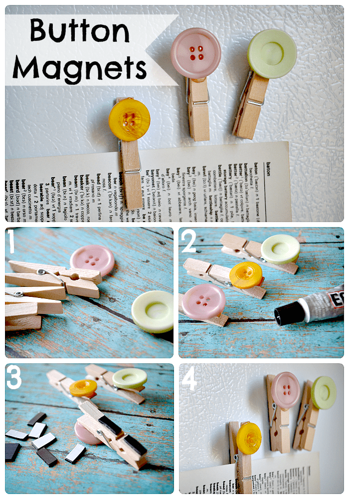 Cute button clothespin magnets