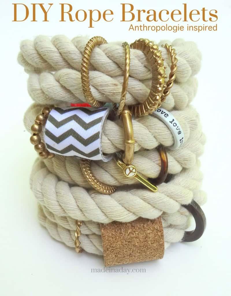 DIY embellished rope bracelets