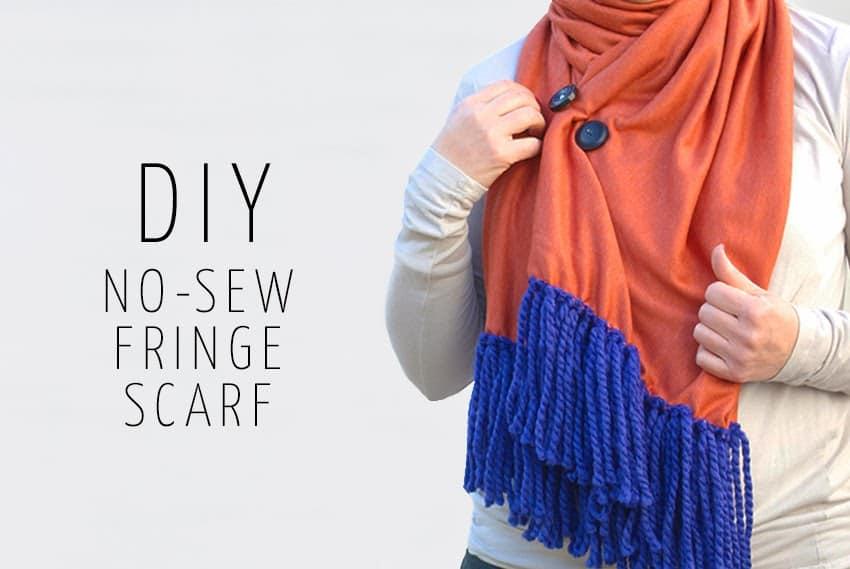 DIY no-sew fringe scarf