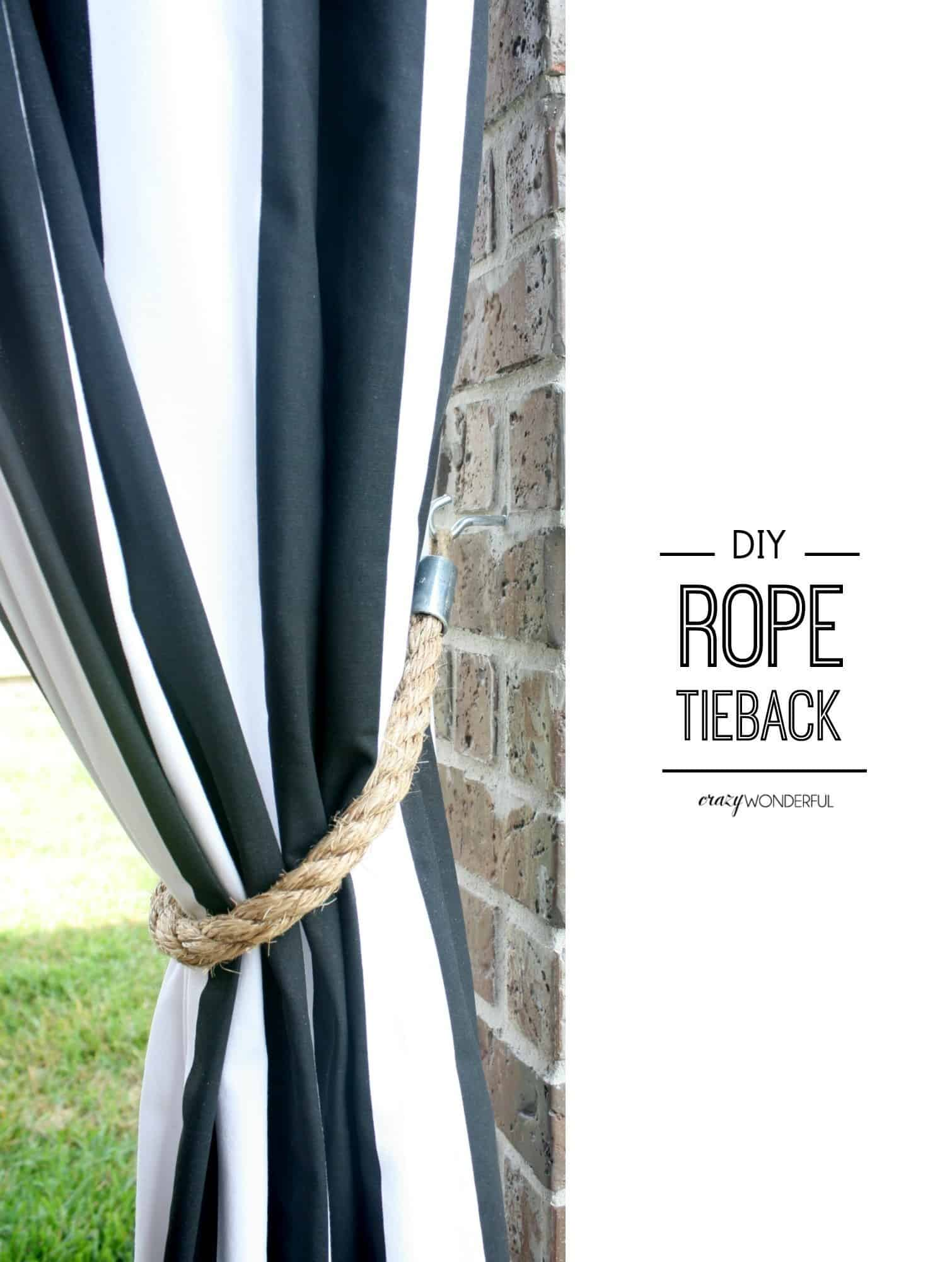 DIY rope curtain tie-backs