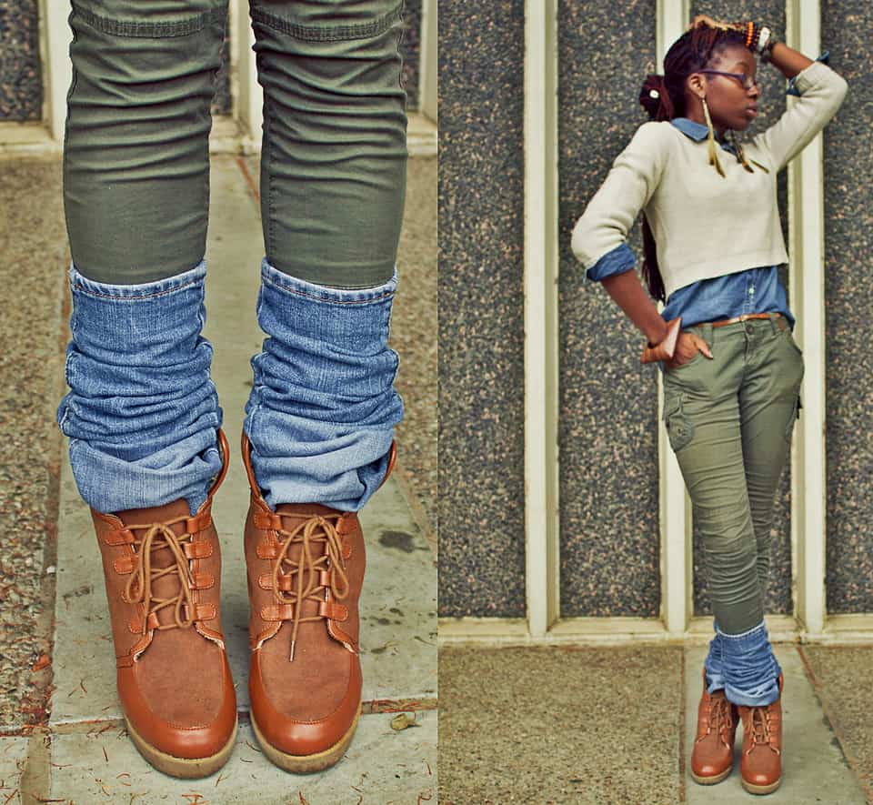 DIY slouched denim leg warmers