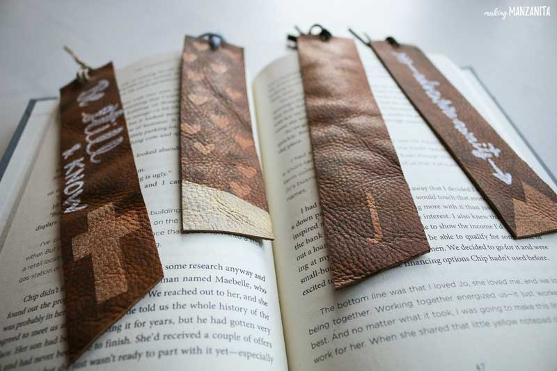 DIY stained and painted leather bookmarks