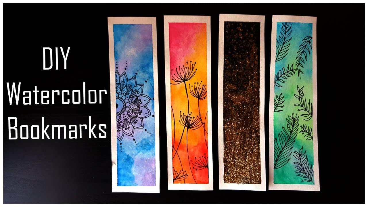 DIY watercolour painted bookmarks