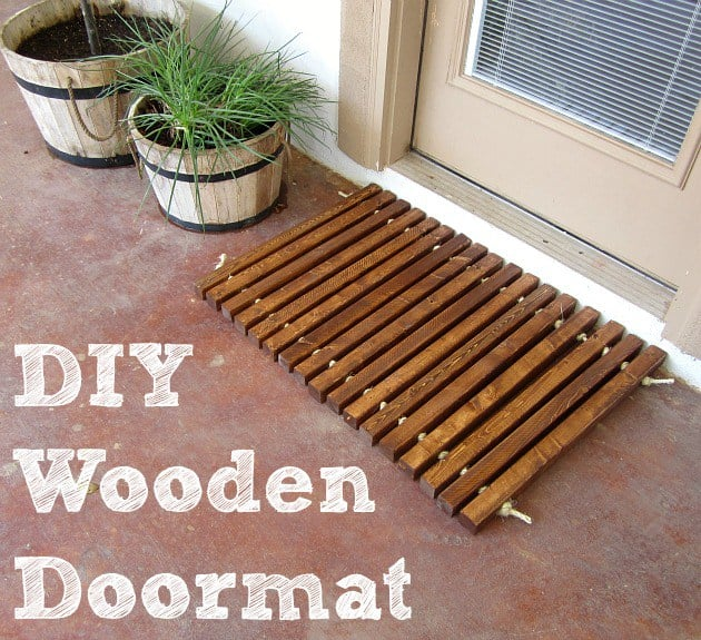DIY wooden pieces doormat