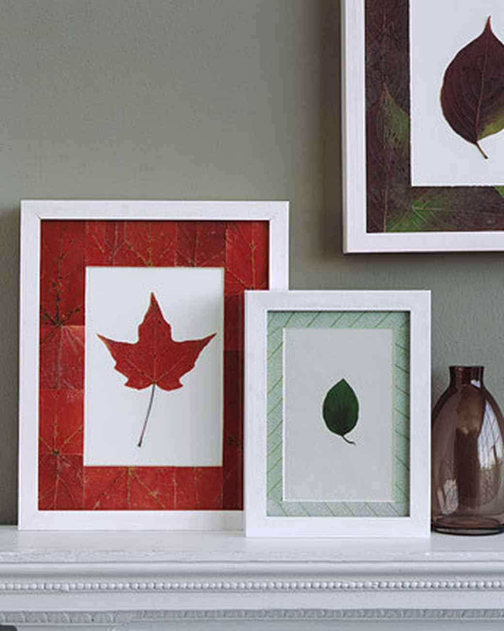 Decopuaged leaf framed art