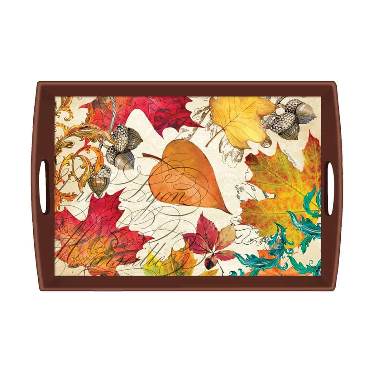 Decoupage leaf fall tray