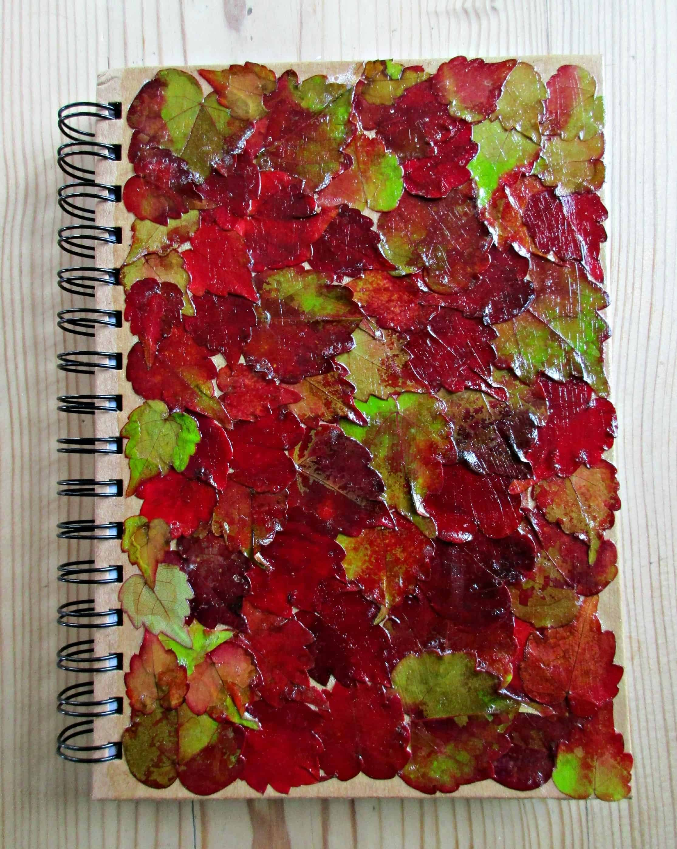 Decoupage leaf notebook