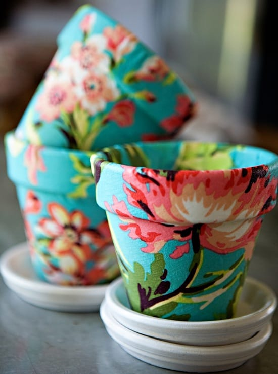 Fabric decoupage pots