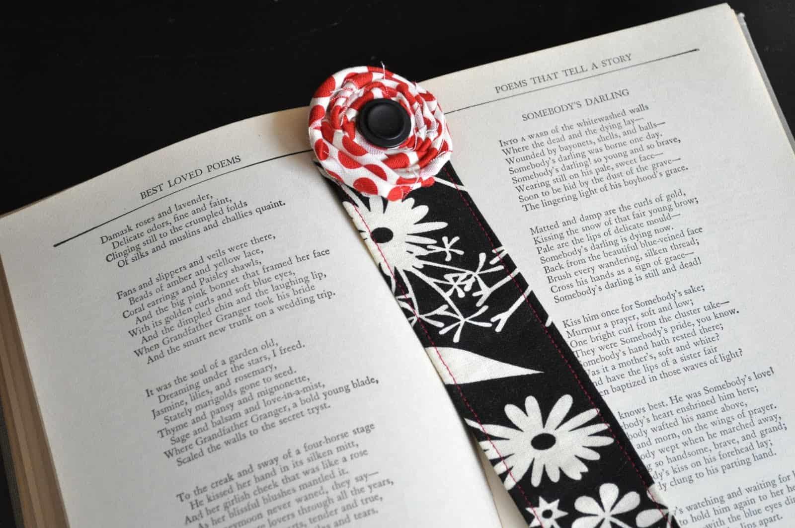 Fabric rosette bookmark