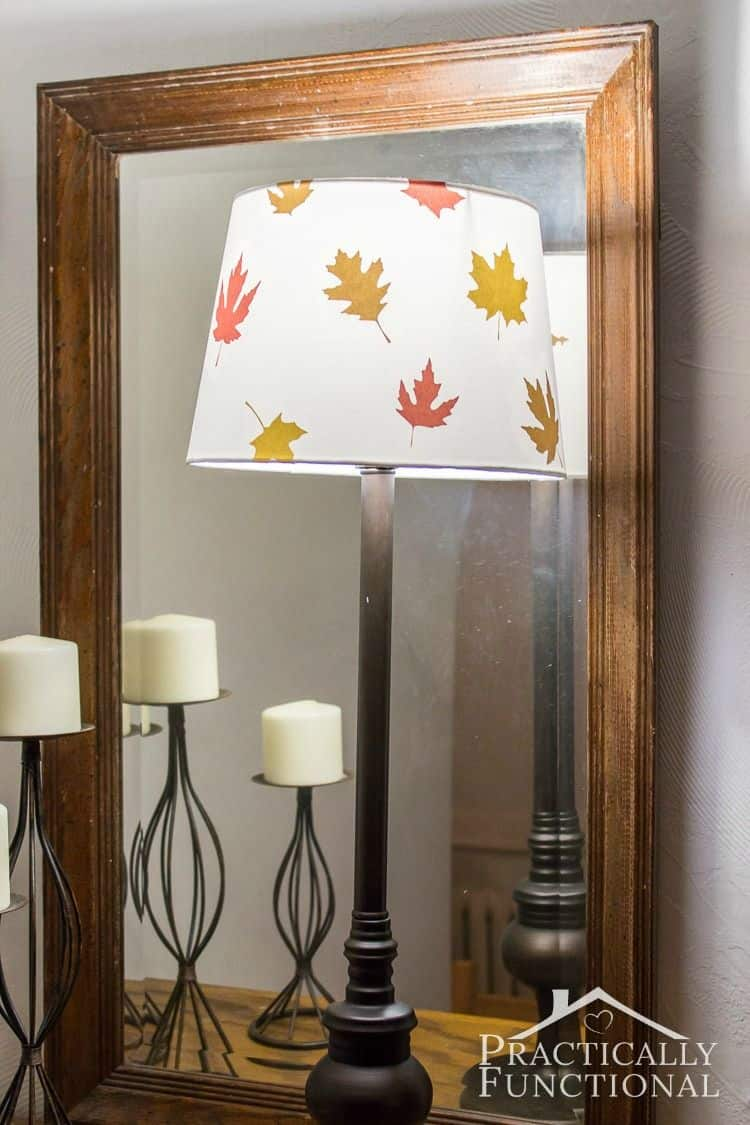 Fall leaf decoupage lampshade