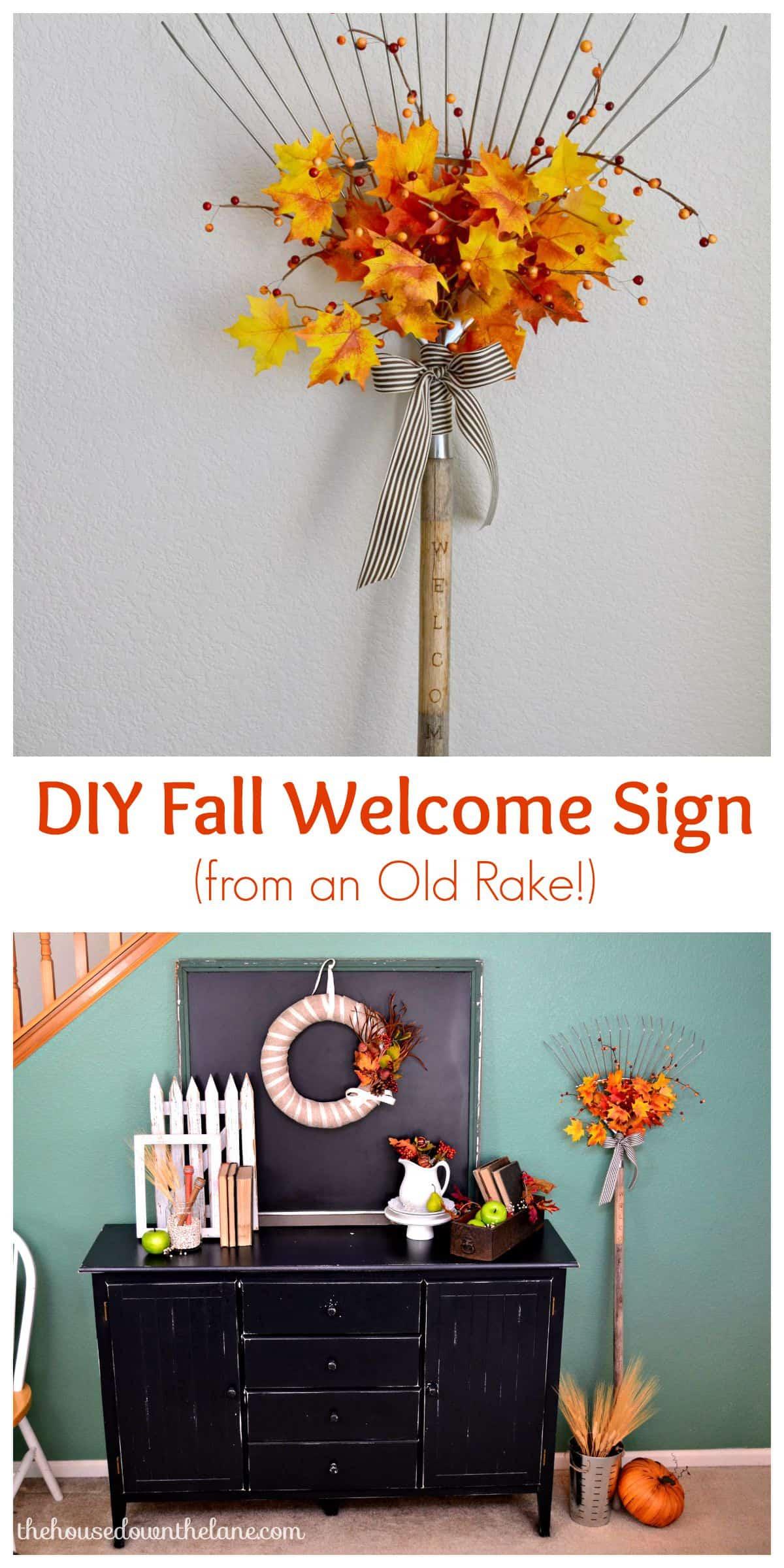 Fall rake welcome sign