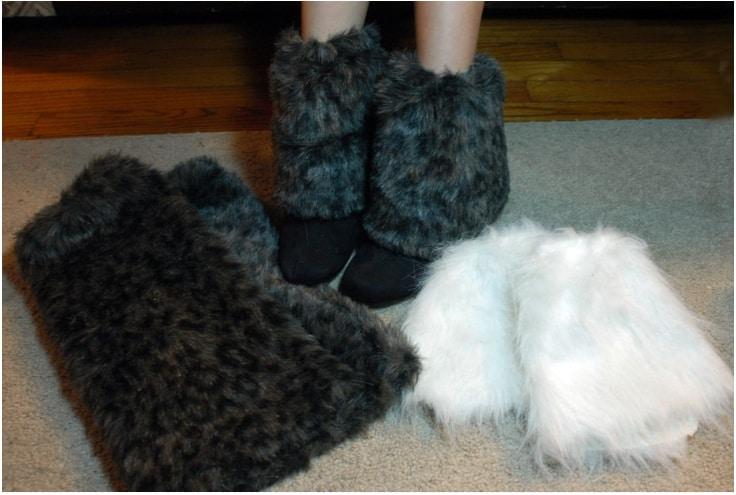 Faux fur boot topper leg warmers