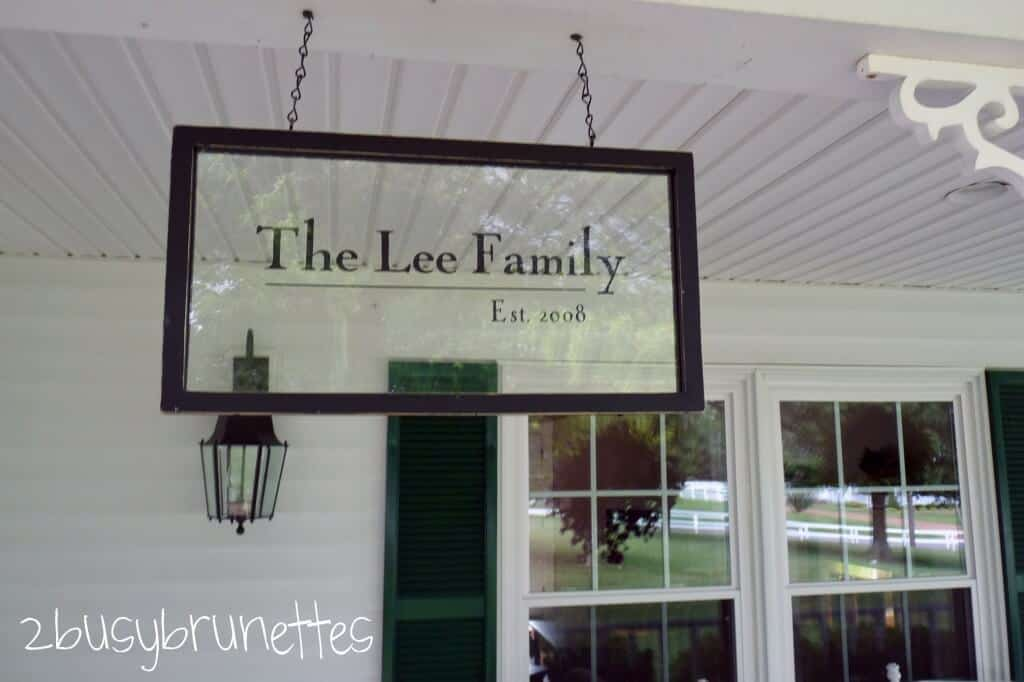 Framed printed glass porch sign