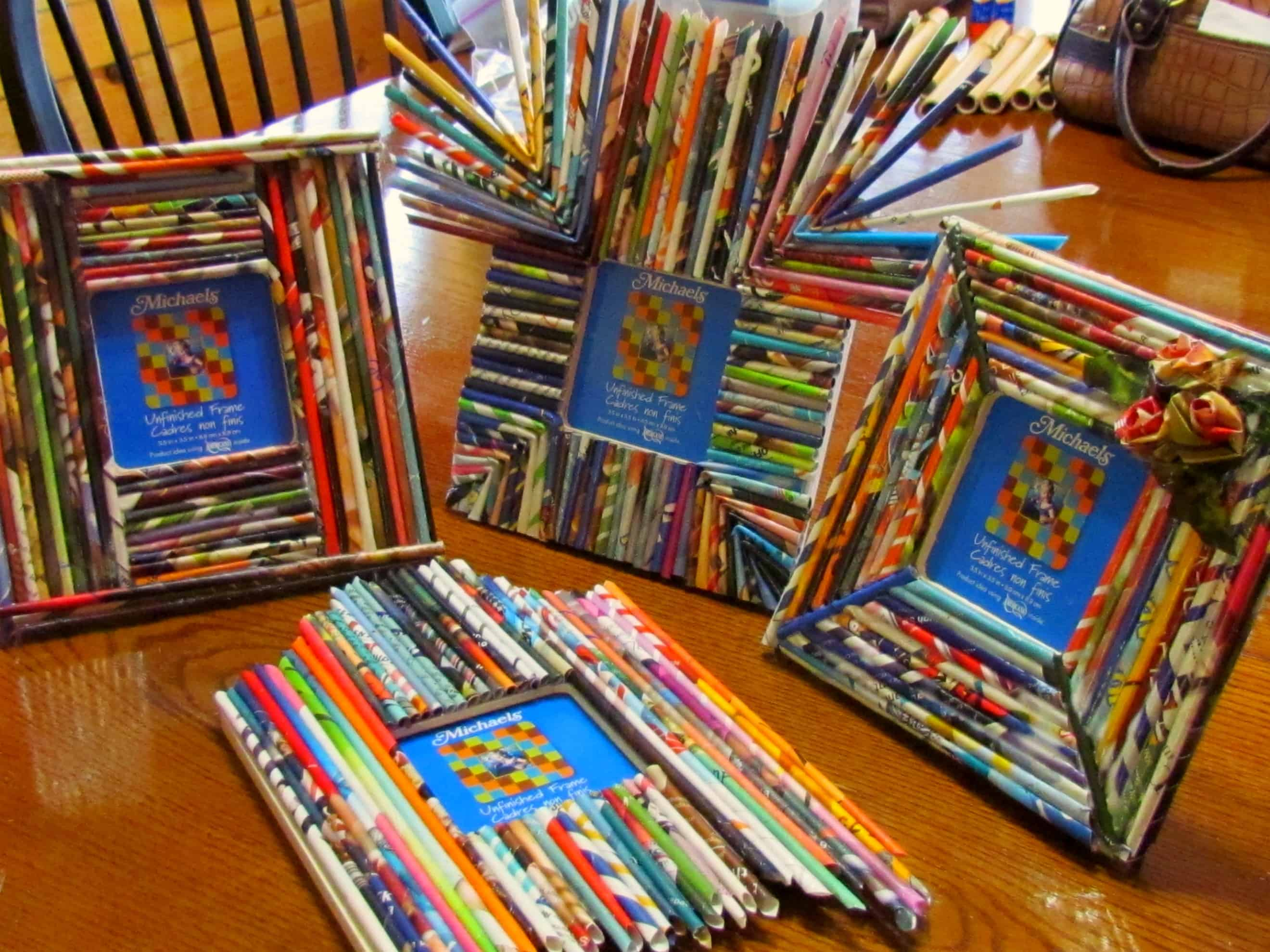 Funky rolled paper photo frames