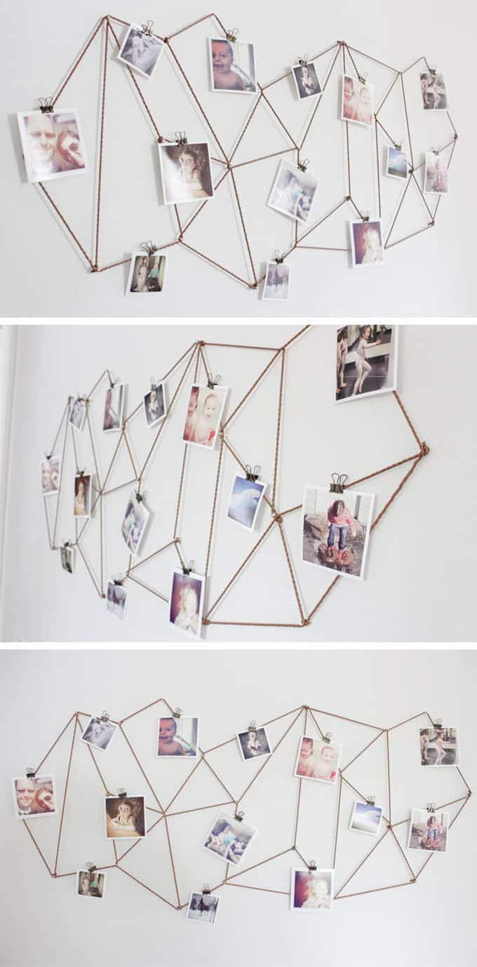 Geometric string photo display
