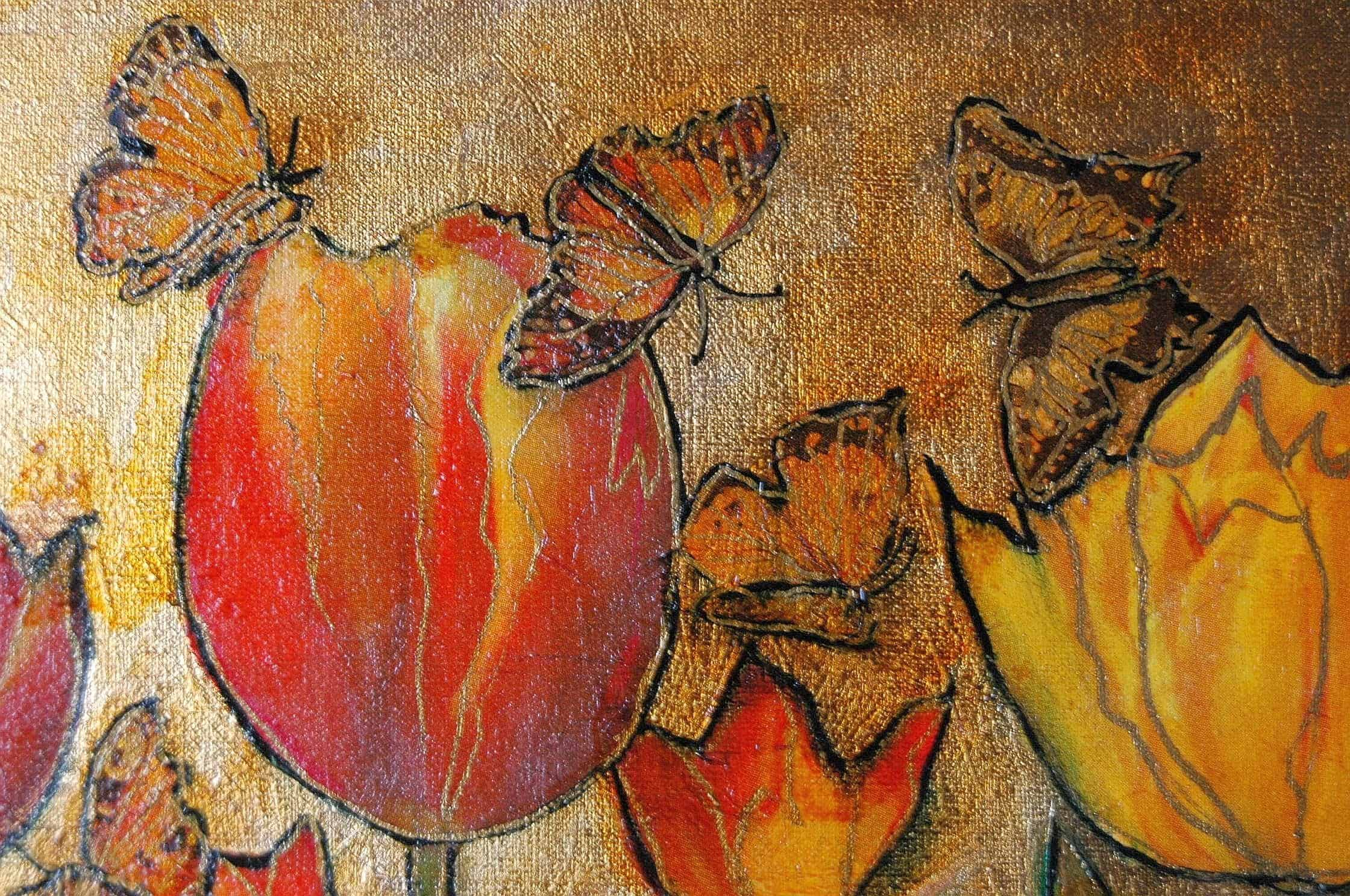 Gold and leaf canvas decoupage