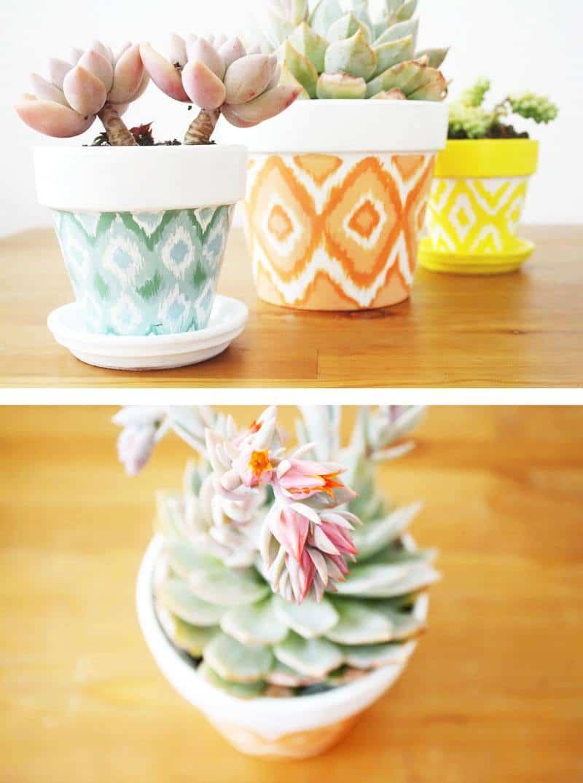 Hand painted Ikat pots