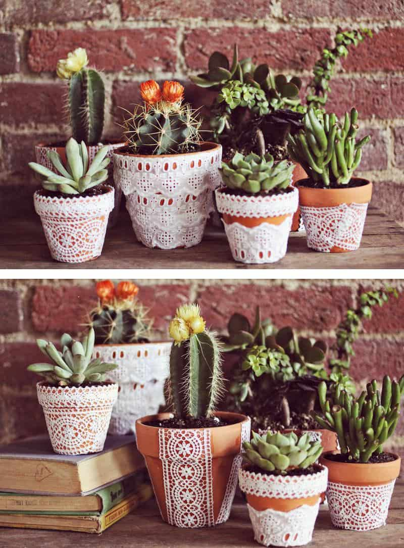 Lace decoupage flower pots