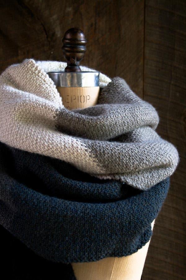 Linen Stitch colour blocked wrap