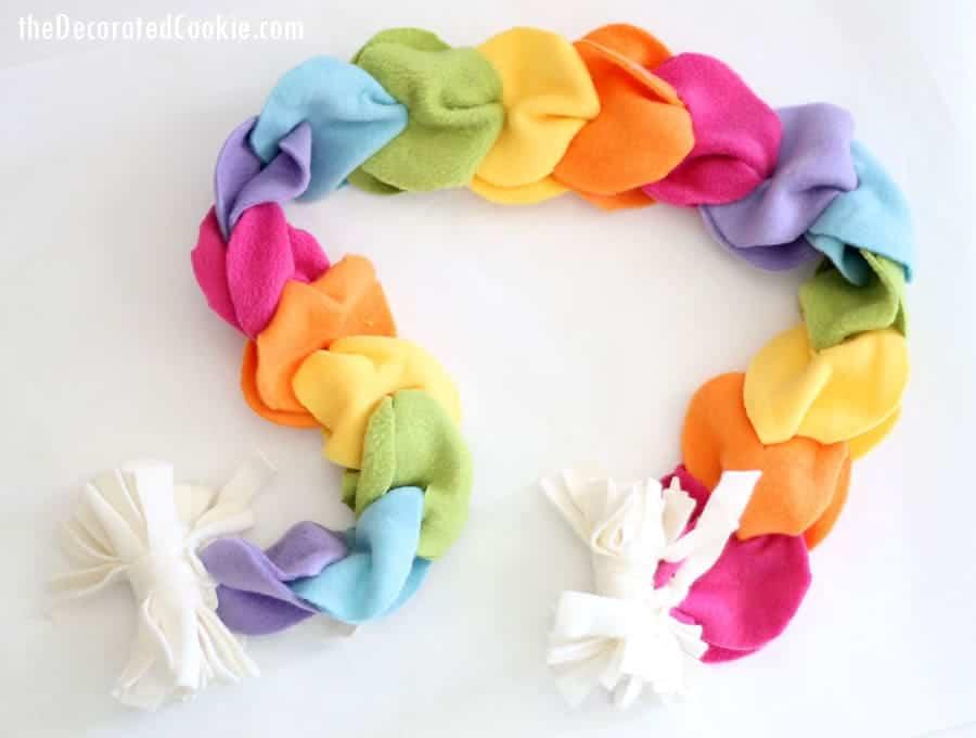 Looped rainbow fleece scarf