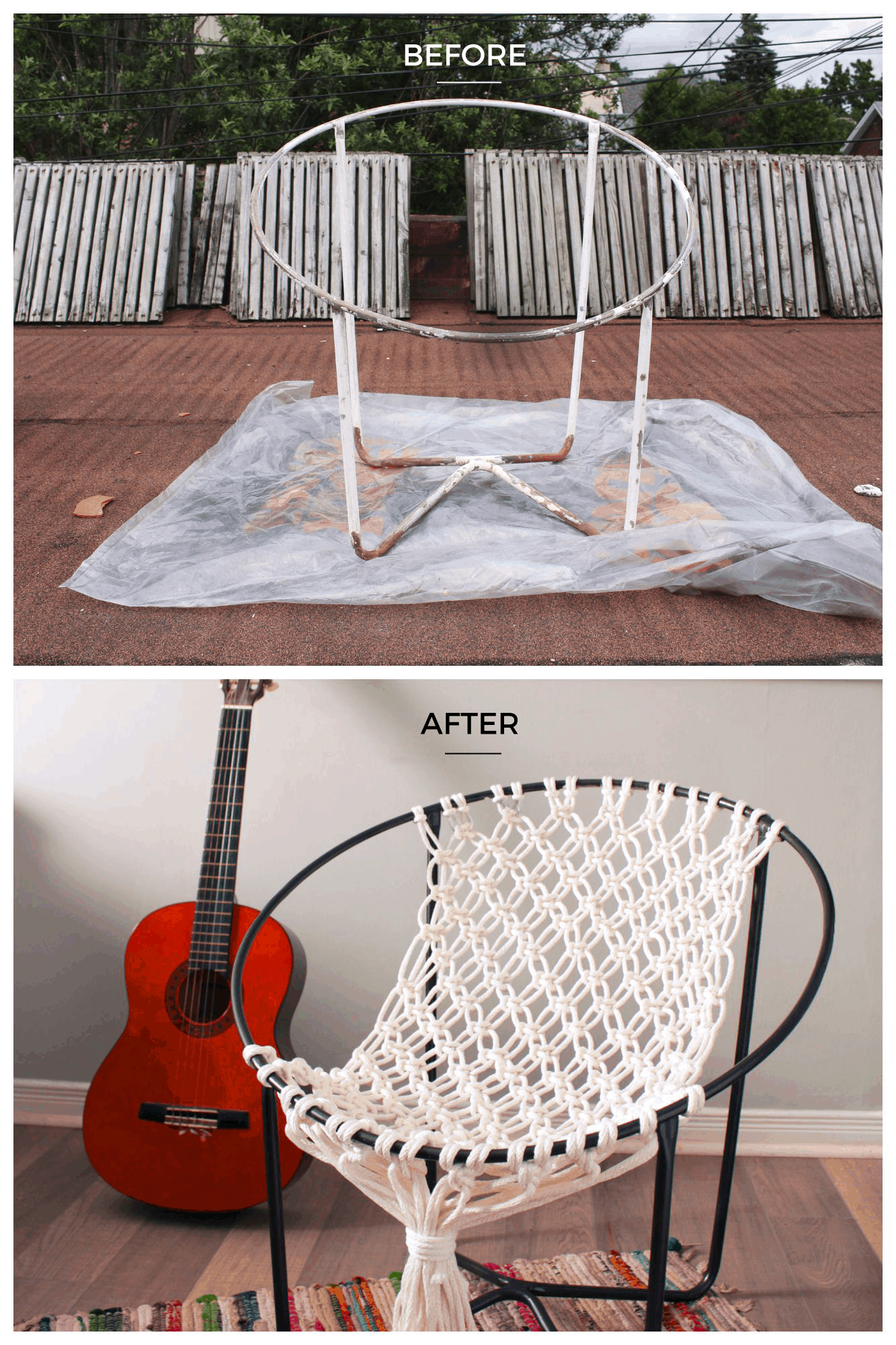 Macrame hoop hammock chair