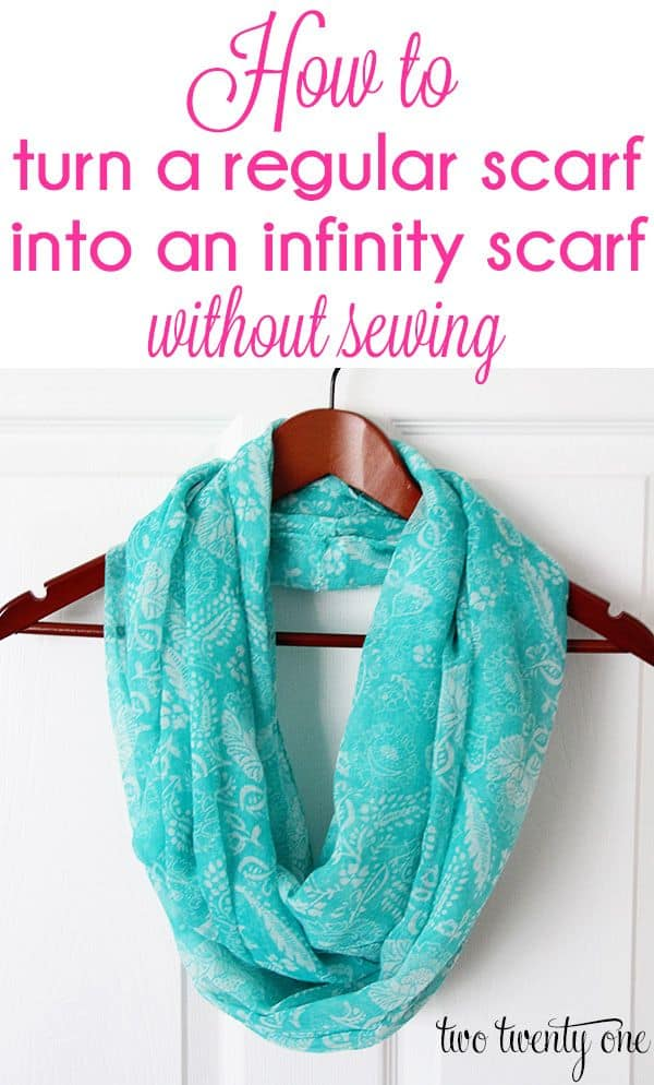No-sew regular scarf turned infinity scarf