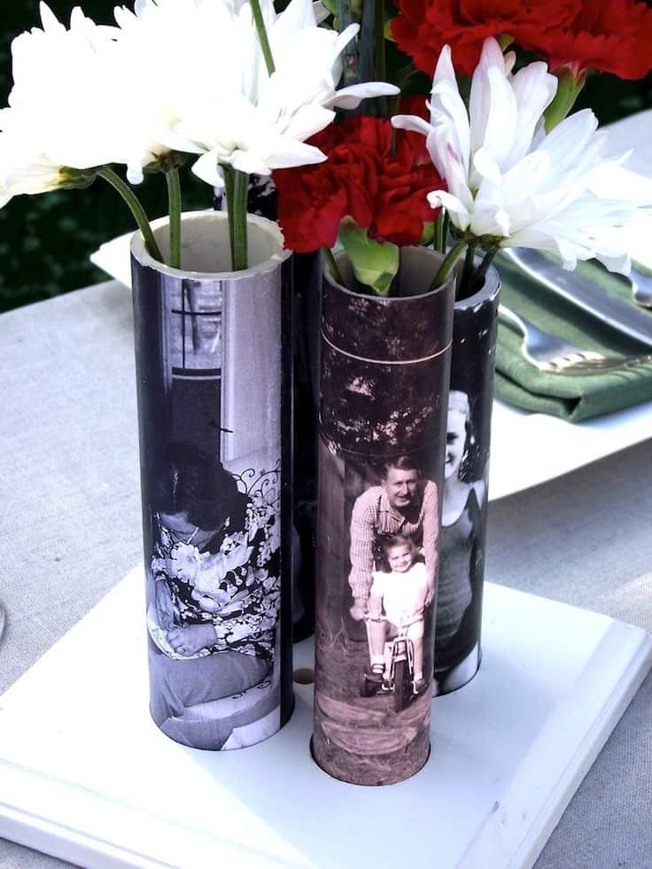 PVC pipe photo vases
