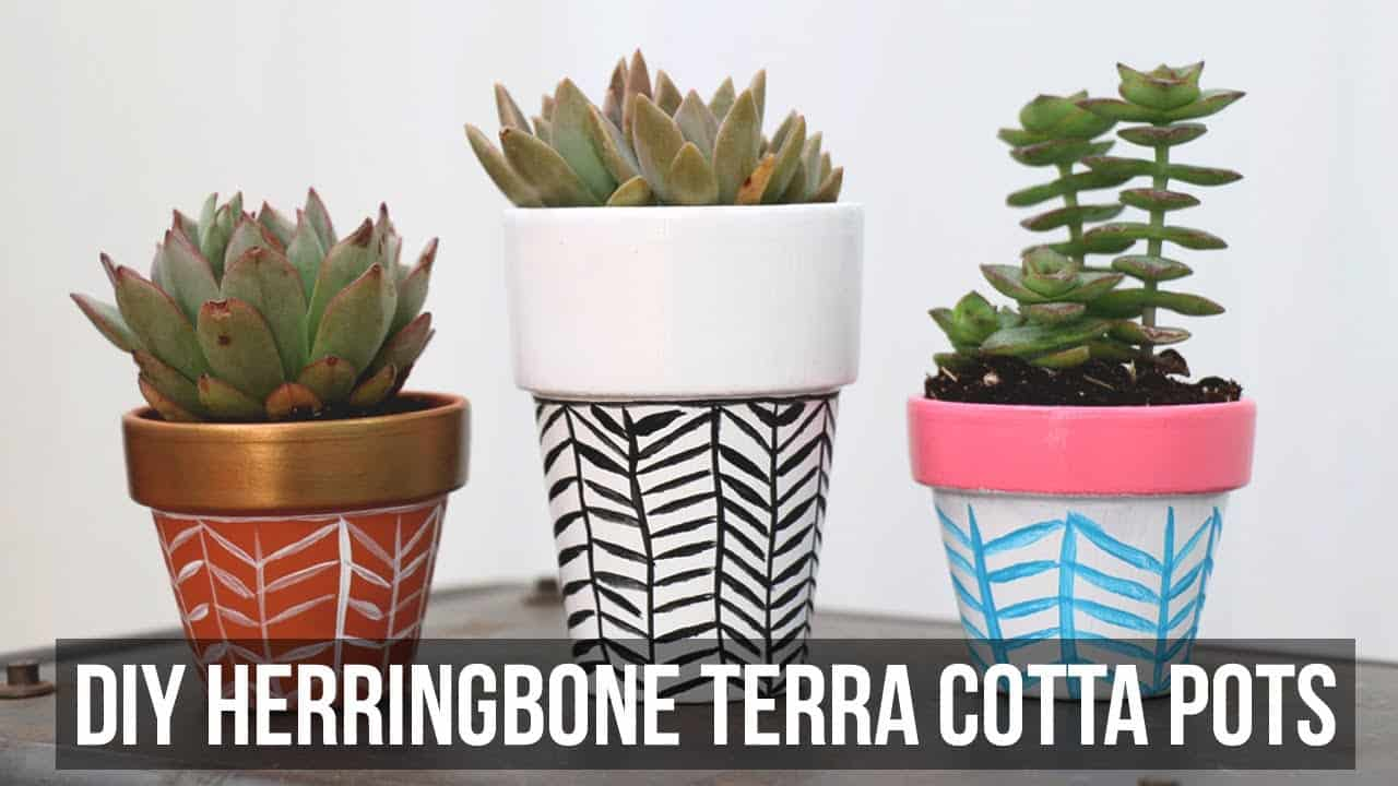 Painted herringbone pots